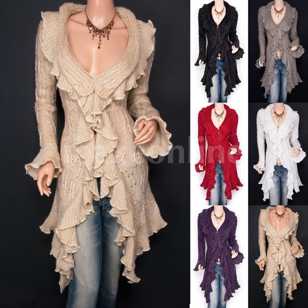 Beautiful Ruffles Knit Collared Asymmetric Hem Cardigan Long Sweater Jacket ...