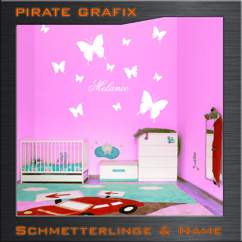 wandtattoo schmetterling wunschname namensschild kinderzimmer name wandbild ebay. Black Bedroom Furniture Sets. Home Design Ideas