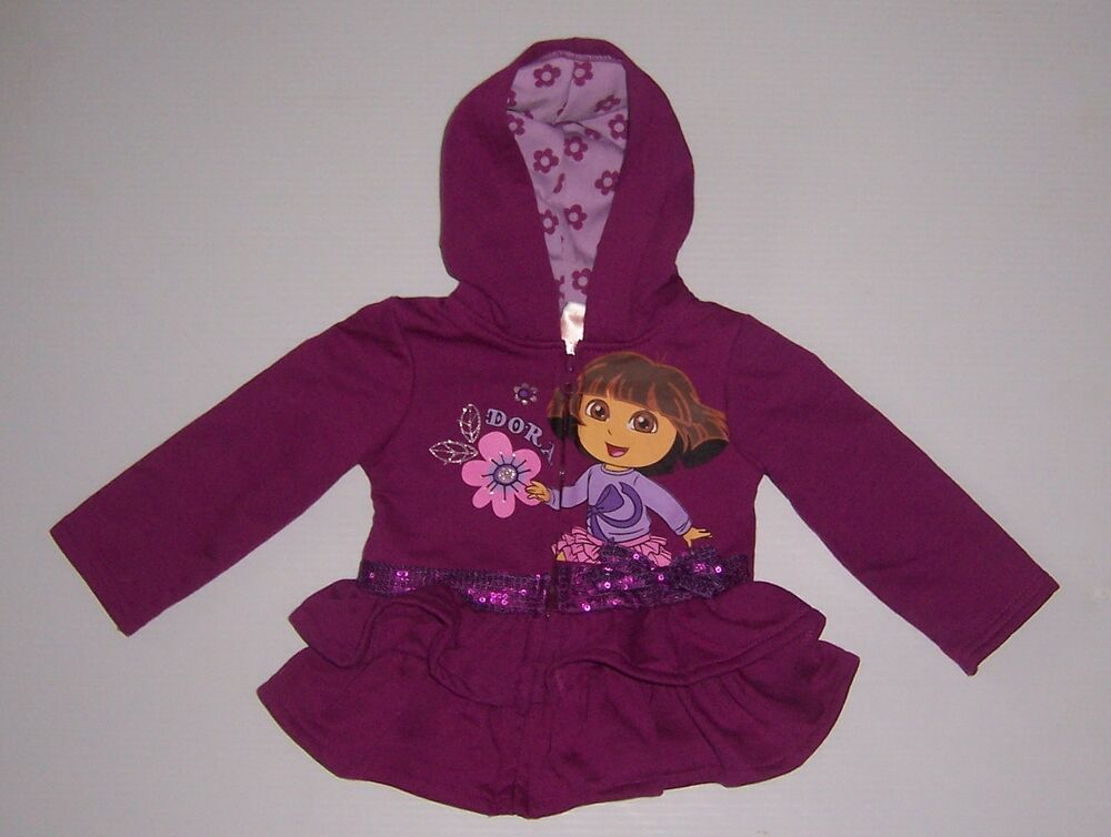 Nickelodeon Dora The Explorer Girls Purple Hoodie Dress -3026