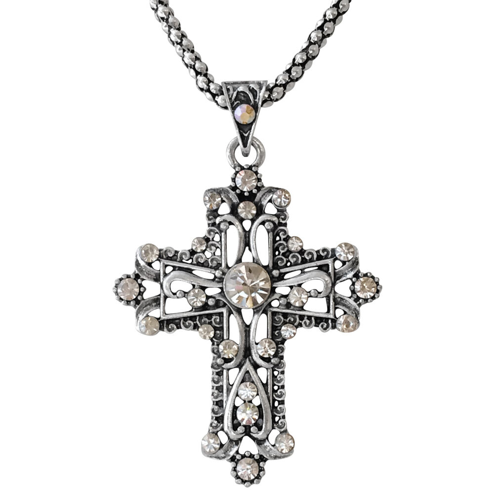 silver tone filigree ornate christian cross charm pendant. Black Bedroom Furniture Sets. Home Design Ideas