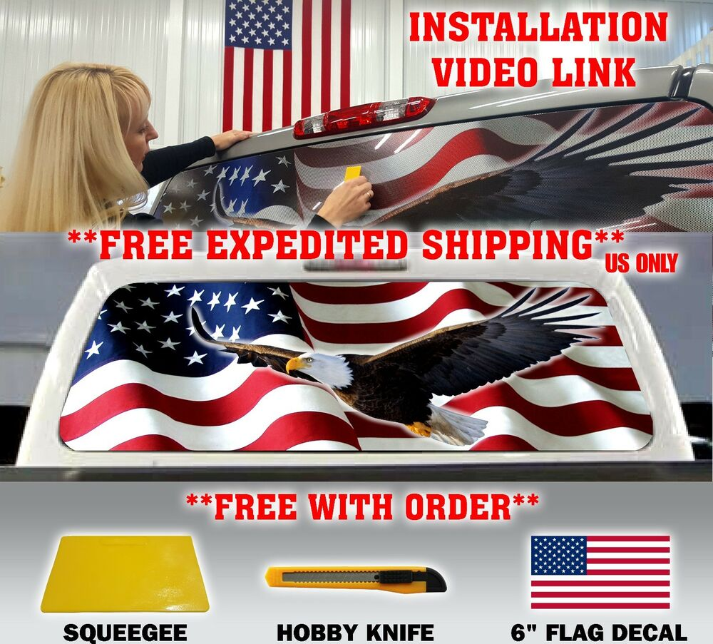 Details about american flag eagle pick up truck rear window graphic decal perforated vinyl