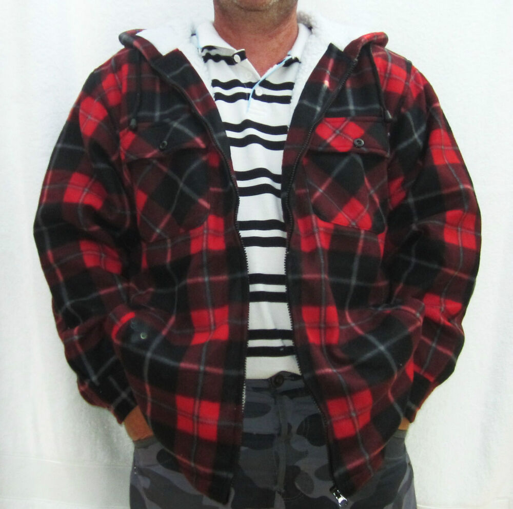 Mens check hooded zip up fleece lined lumber shirt for Men flannel shirt jacket with quilted lining