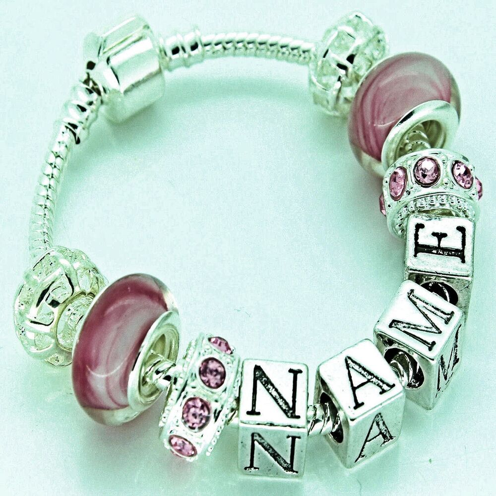Personalised charm bracelet girls childrens pink silver beads any name