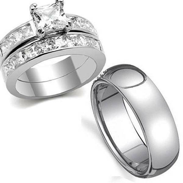 stainless steel wedding ring sets 3pcs stainless steel his hers cz princess cut bridal 7661