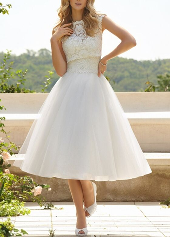 New tea length white ivory lace tulle bridal gown wedding for Tulle petticoat for wedding dress