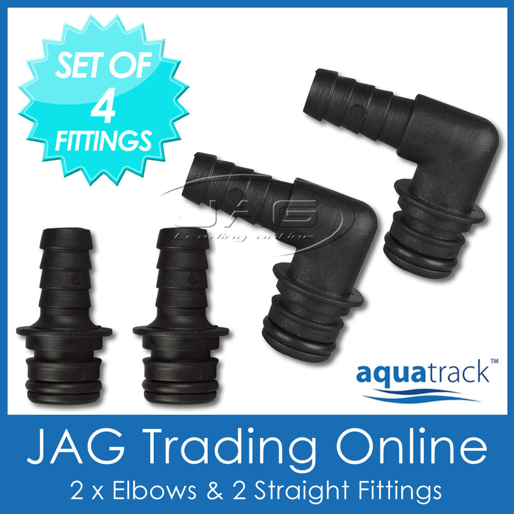 Set of hose tail quick connect plug in fittings for