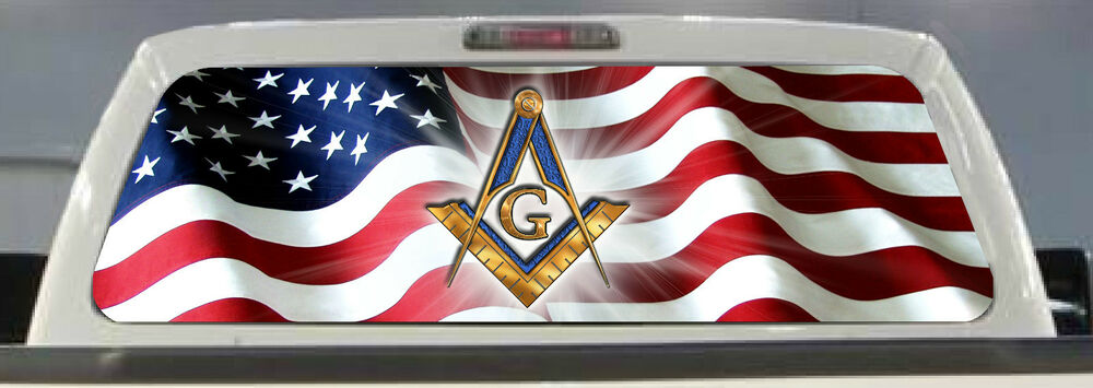 American Flag Freemason Pick Up Truck Rear Window Graphic