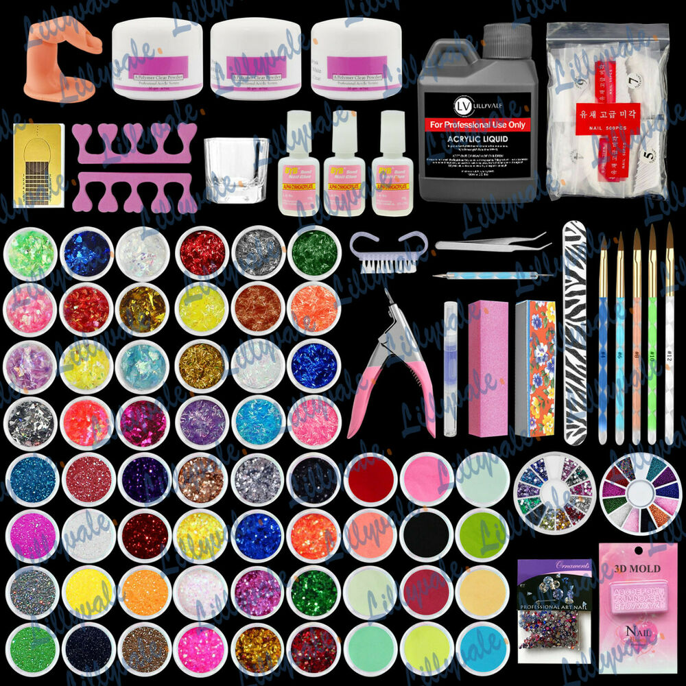 Full 60 Acrylic Powder Glitter Liquid Nail Art Kits Set