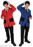 Mens Adult 50s Teddy Boy Rock and Roll Fancy Dress Costume Jacket Shirt and Tie
