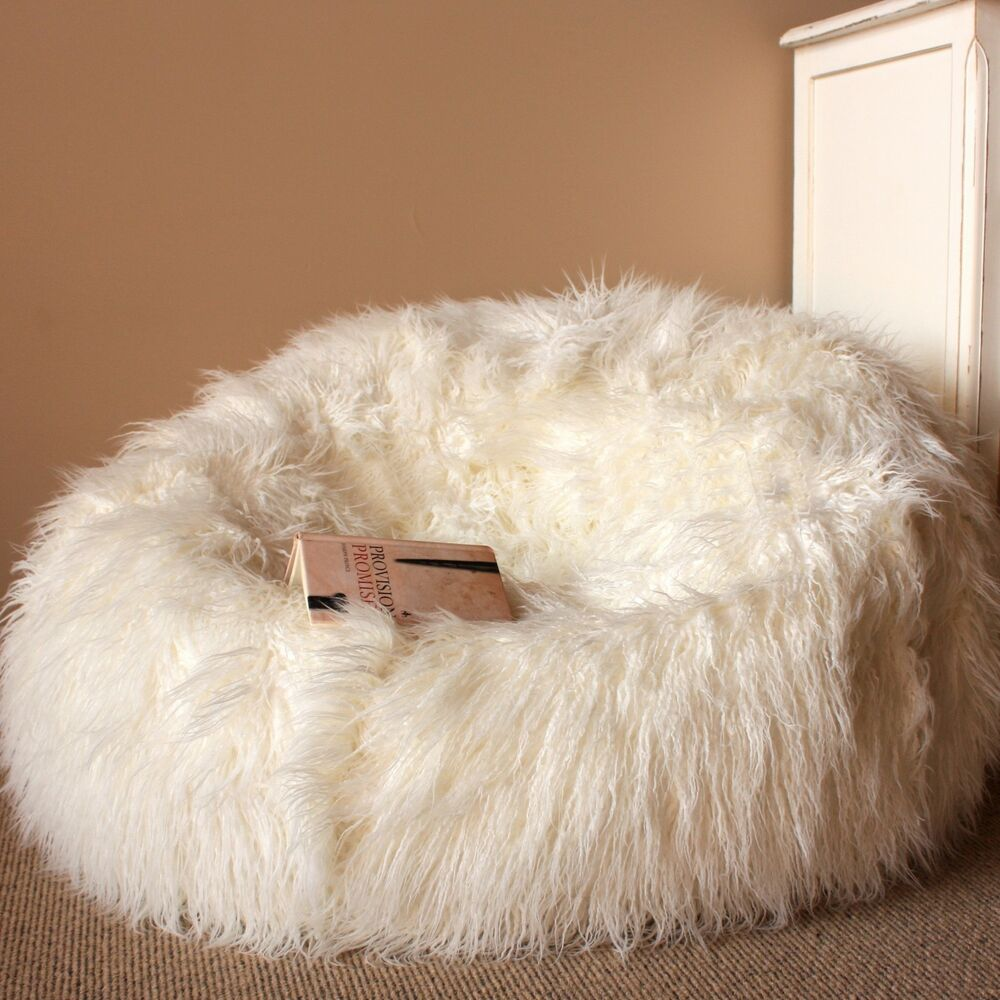 Bean bag chairs for teenage girls - Large Cream Shaggy Fur Bean Bag Cover Cloud Chair Beanbag For Lounge Rumpus Home