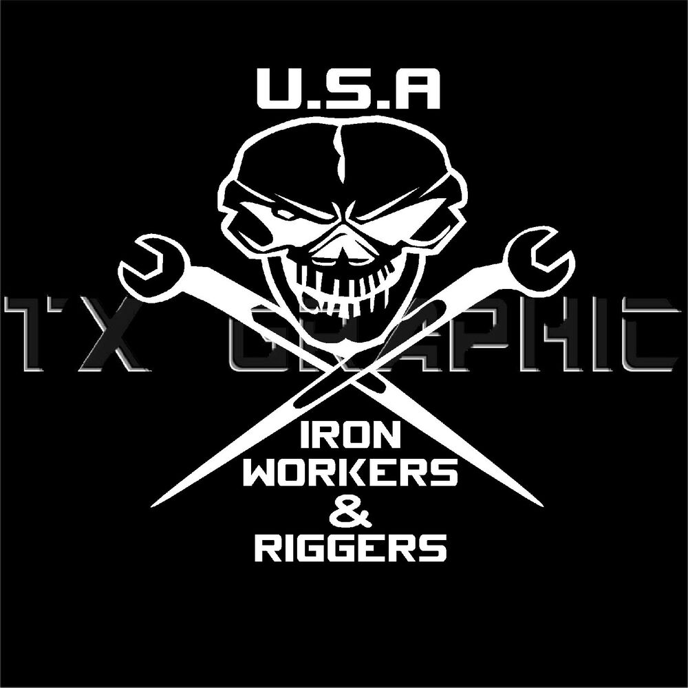 Usa Iron Workers Sticker Vinyl Decal Riggers Skull Wrench