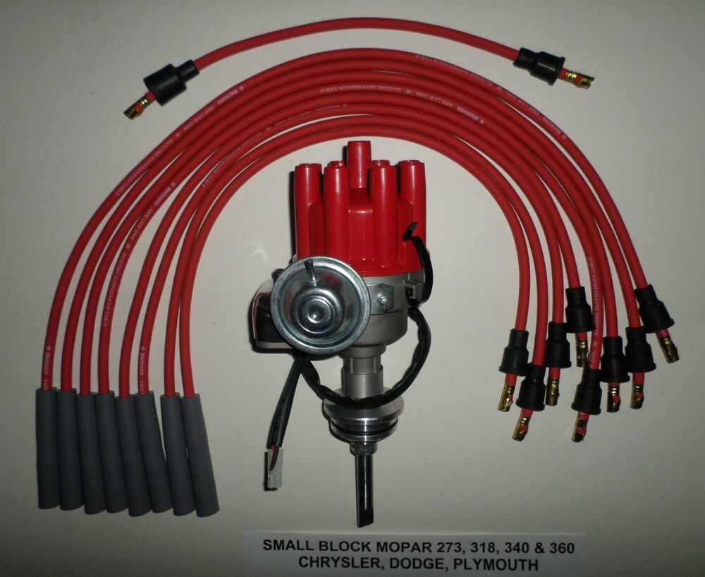 Mopar 273 318 340 360 Red Small Female Cap Hei Distributor Spark Wiring In Gm Plug Wires Ebay
