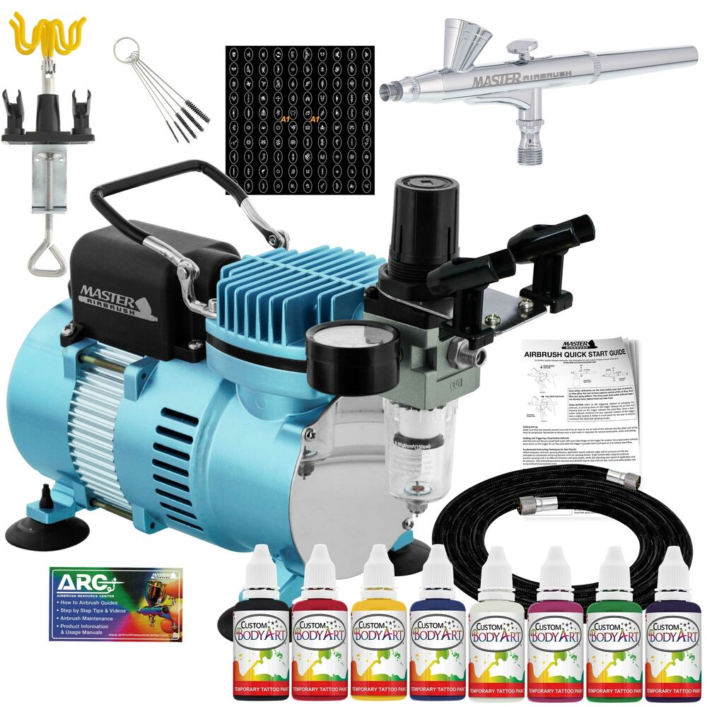 Master pro temporary tattoo airbrush kit 8 color body art for Airbrush tattoo paint