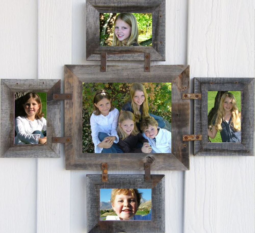 reclaimed barn wood picture photo collage frame 8x10 4 4x6 many colors ebay. Black Bedroom Furniture Sets. Home Design Ideas