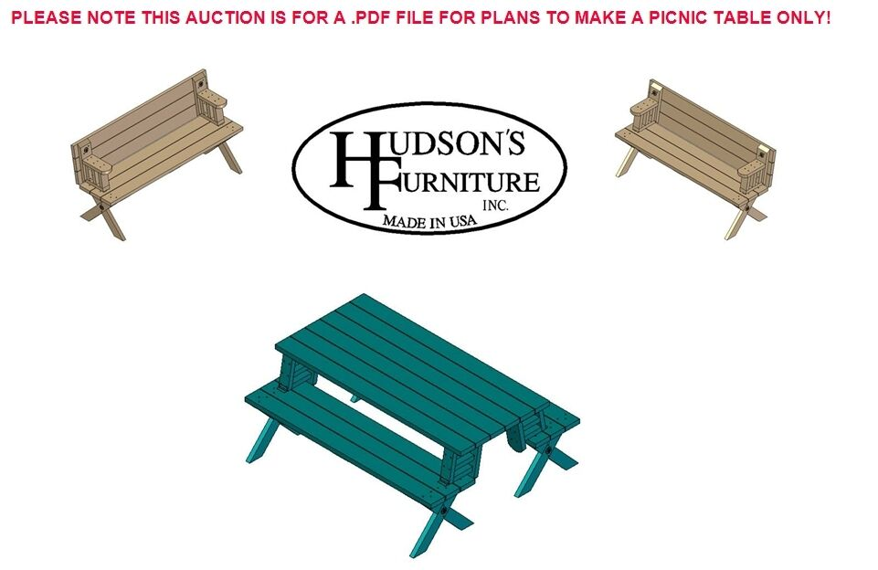 Folding Picnic Table / Bench Plans | eBay