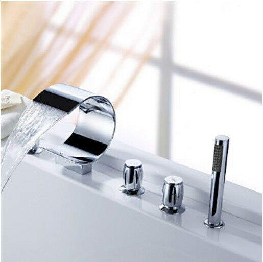 bathtub faucet deck mount mixer tap with hand spray shower ebay