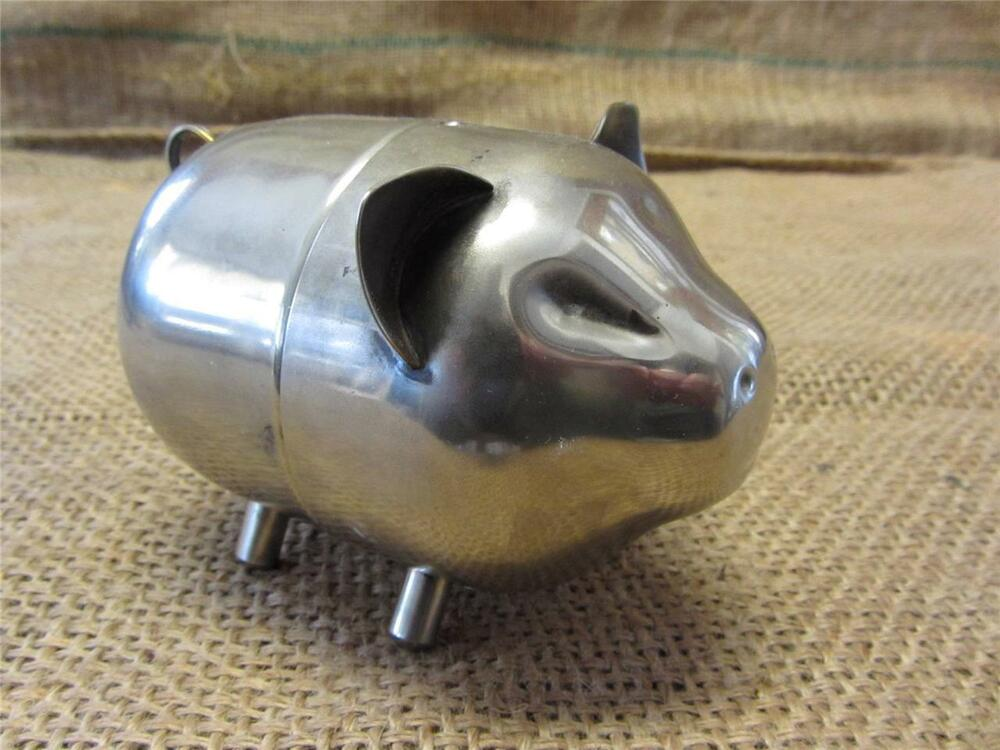 Vintage metal pig piggy bank chrome 2 piece antique old for How to open a tin piggy bank