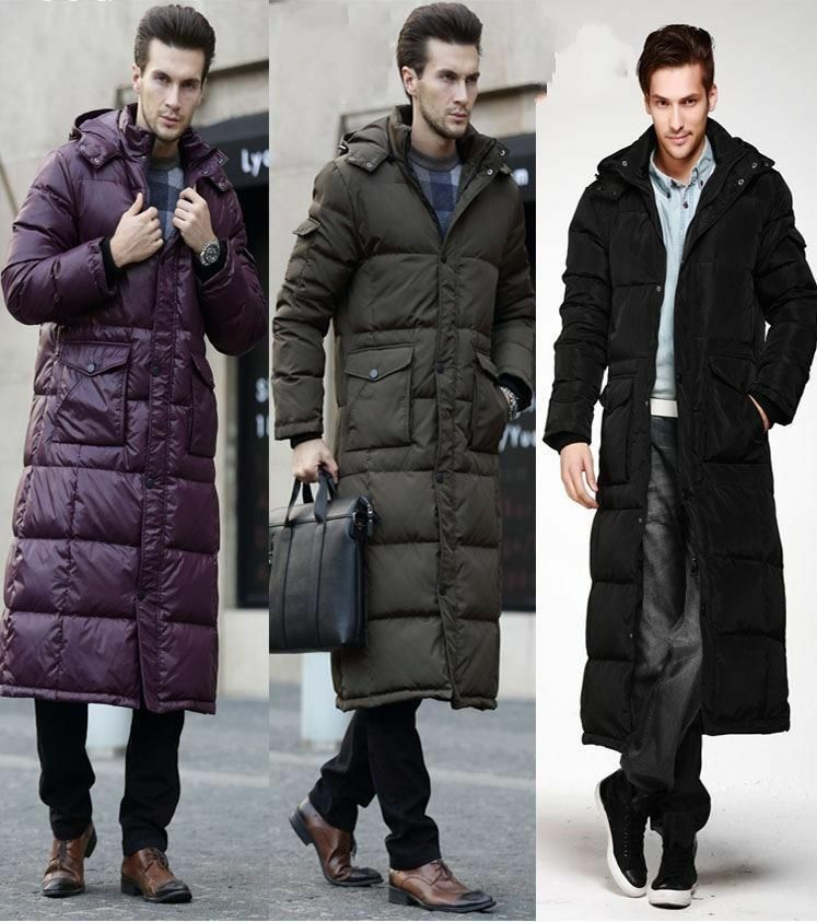 HOT SALE Winter Warm Men's 90% Duck Down Jackets Knee Length Long ...