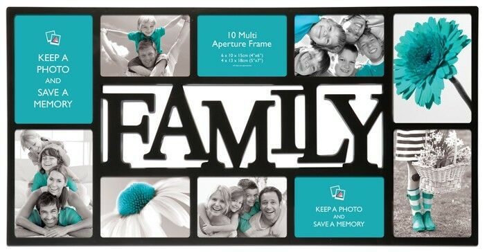 Large Family Photo Frame 10 Multi Aperture Black Frame