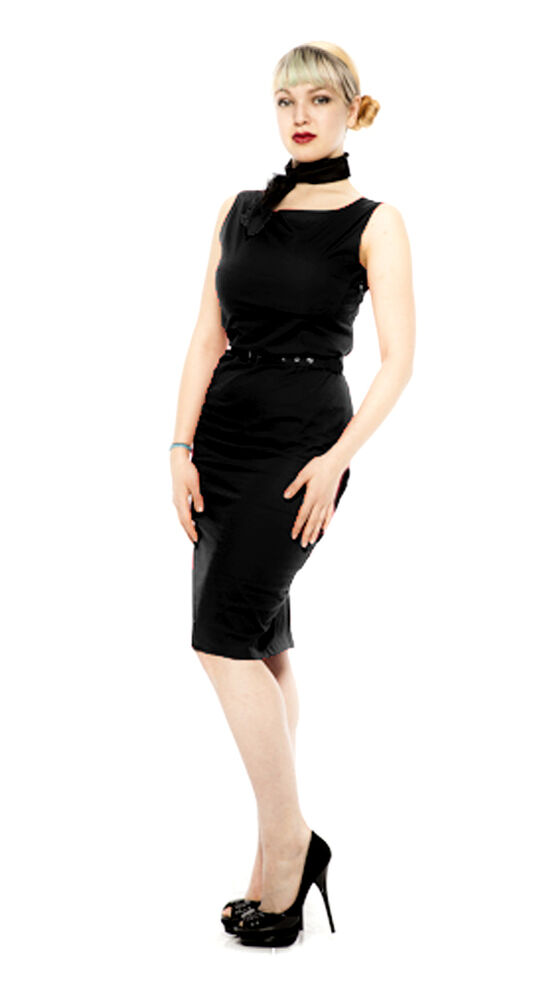 Black Pencil Dress Fitted Wiggle 50s Style Sleeveless