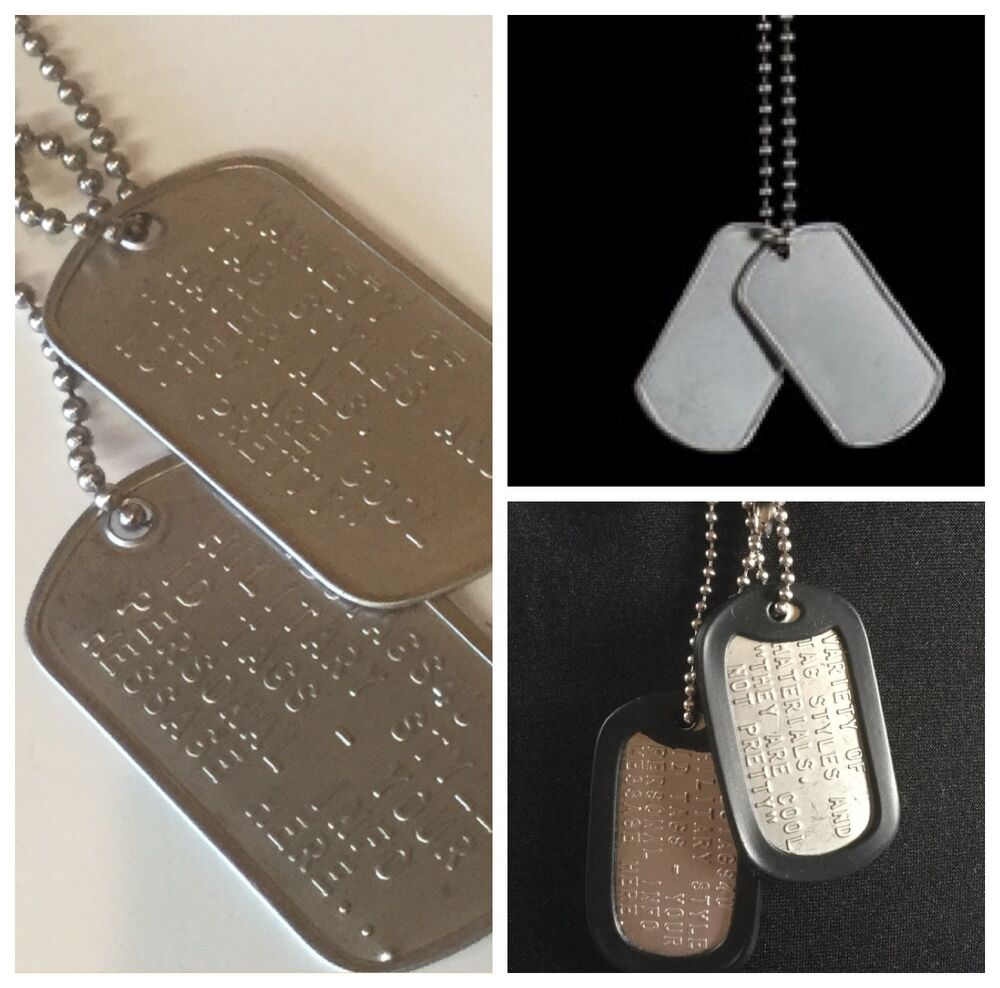 Military dog tags id tag custom us army style stainless steel