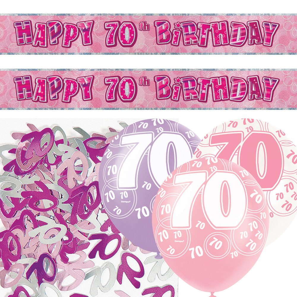 Pink silver girl glitz 70th birthday banner party for Decoration 70th birthday
