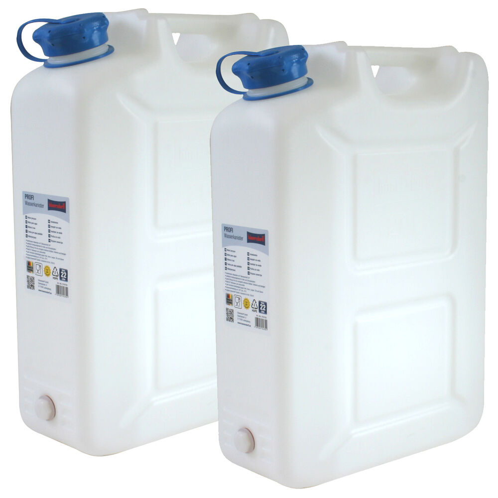 2x wasserkanister profi 20 liter mit hahn neu trinkwasser kanister 2er set 20l ebay. Black Bedroom Furniture Sets. Home Design Ideas