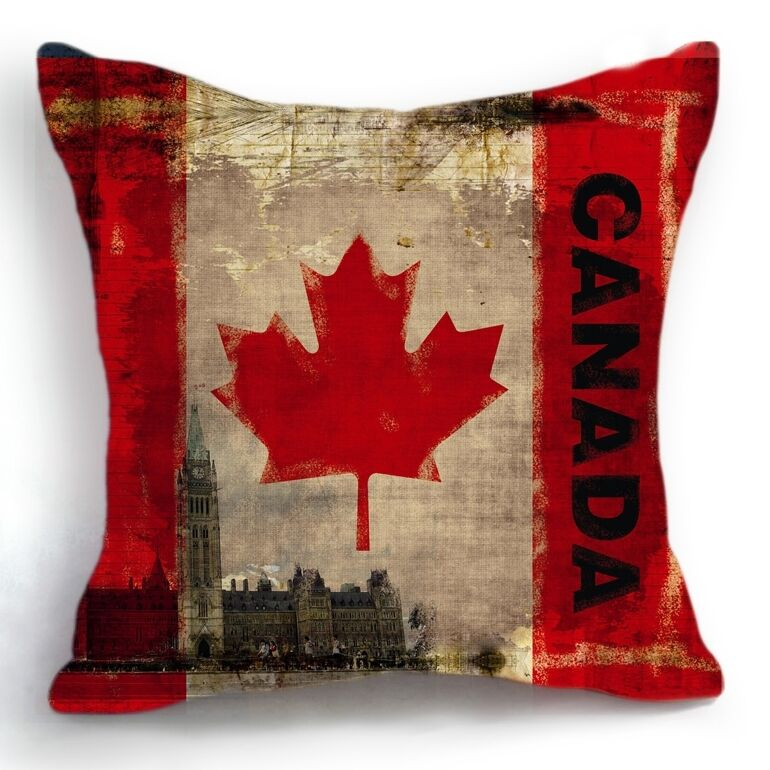 Retro Vintage Canada Flag Home Decorative Pillow Case Cushion Cover 18'' eBay