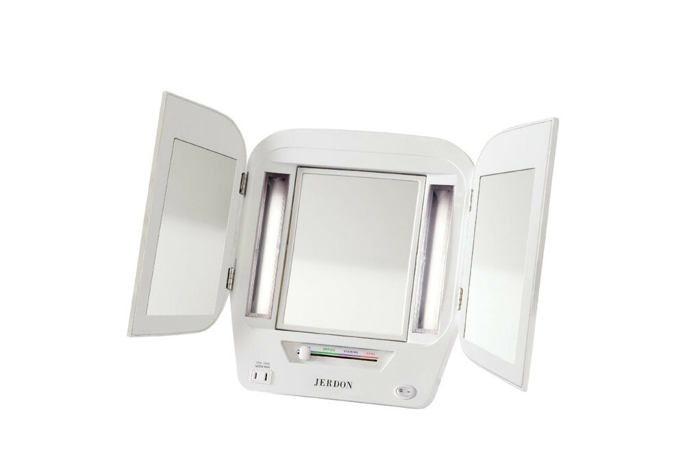 jerdon 5x magnification euro style tri fold lighted makeup vanity mirror jgl10w ebay. Black Bedroom Furniture Sets. Home Design Ideas