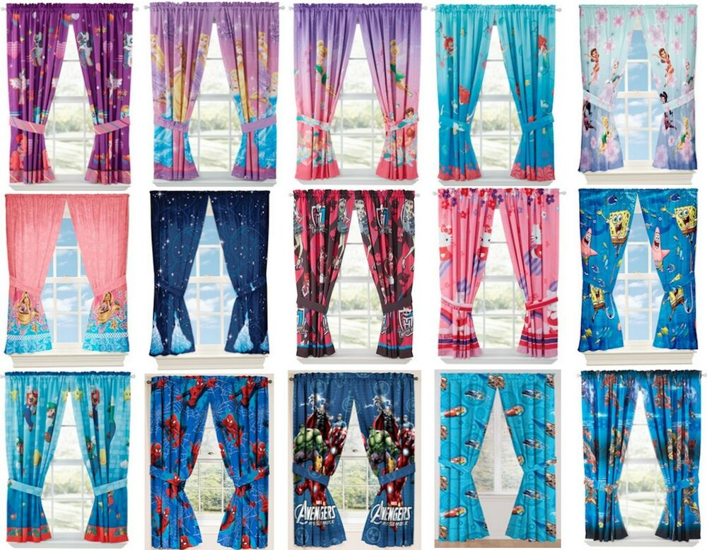Girls Boys Window Curtains Drapes With Multiple Disney