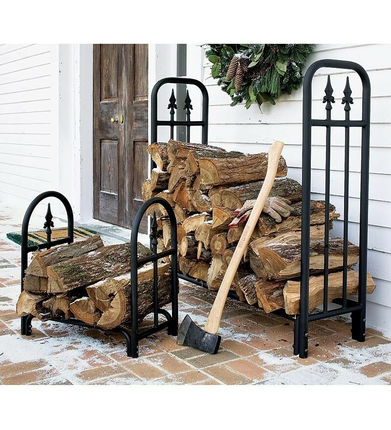 Decorative firewood log rack storage wood stack holder