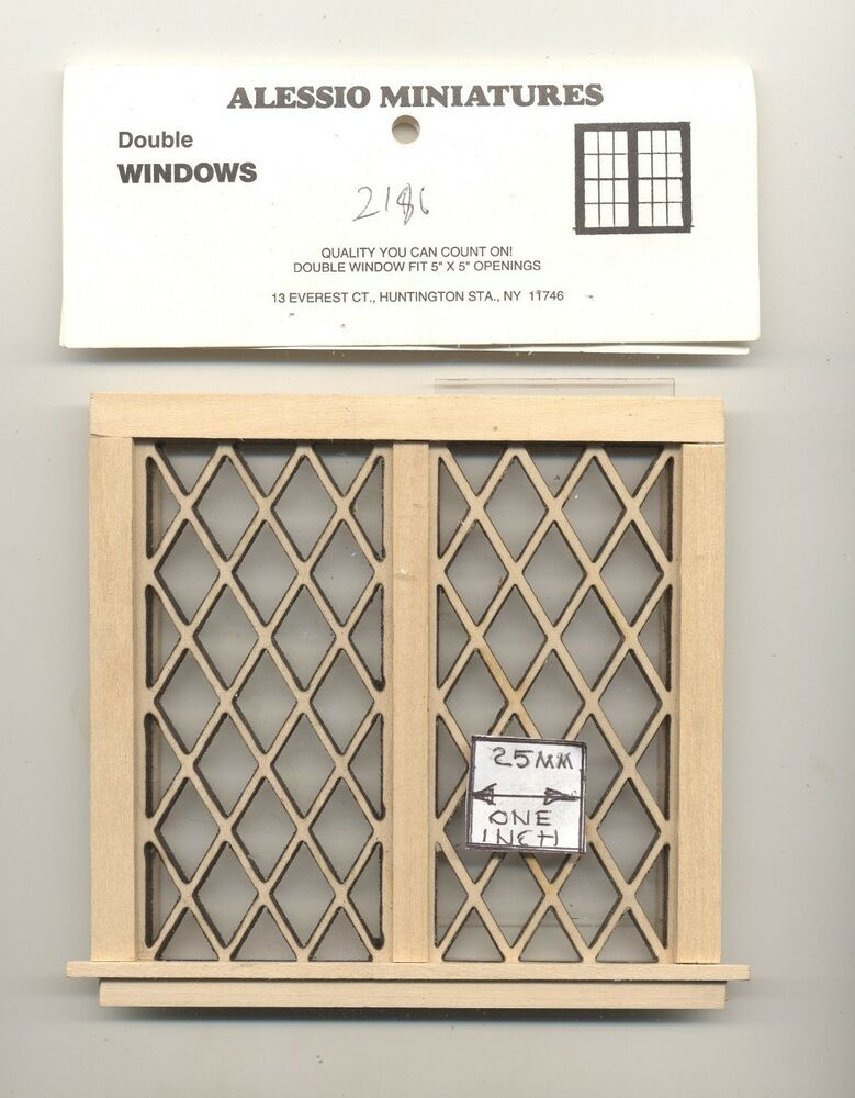 Window Tudor Diamond Double 2126 Dollhouse Miniature 1