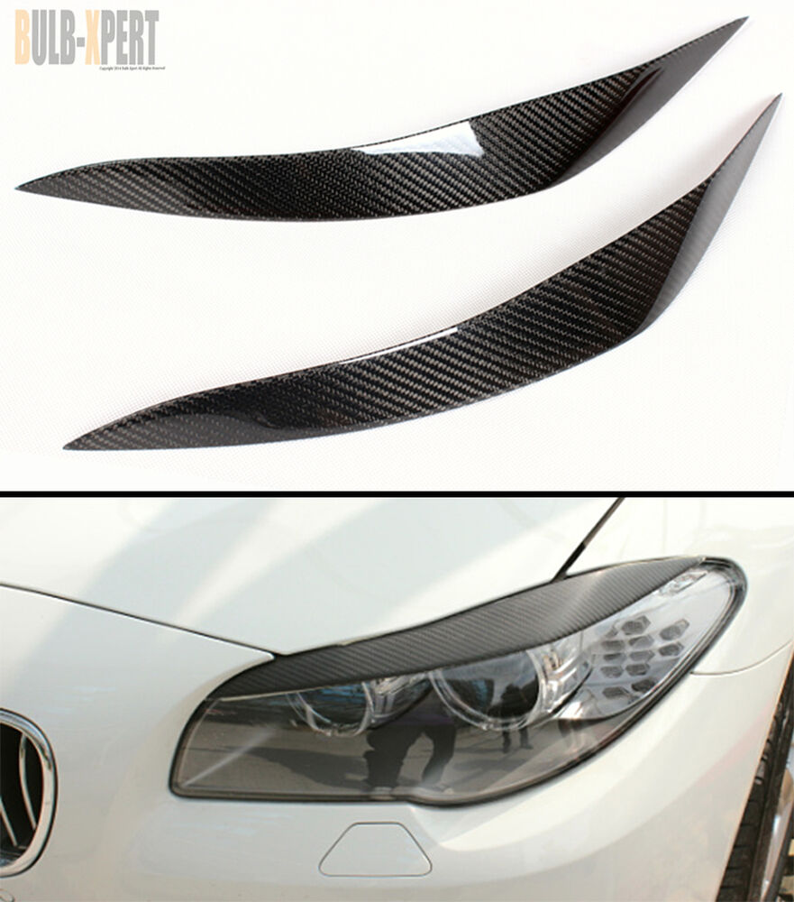 Real Carbon Fiber Headlight Eye Lid Cover Pair For 2011