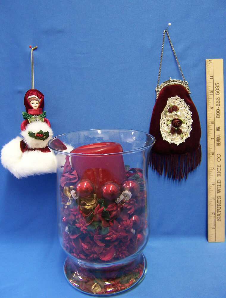 Christmas centerpiece glass vase table decor ornaments
