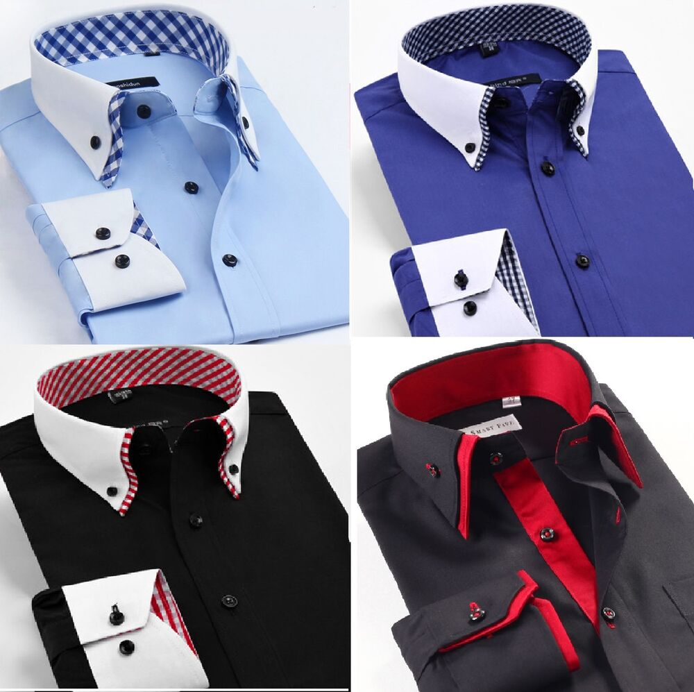 ... Casual Double Collar Slim Fit Formal Shirt Italian Design DC02 | eBay