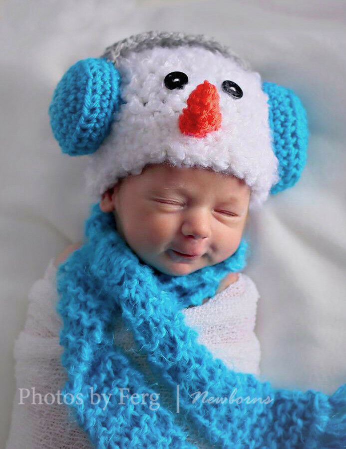 Newborn Baby Crochet Snowman With Earmuffs Hat And Scarf