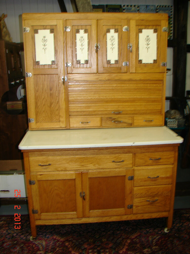 Antique oak hooiser kitchen cabinet w siffter for Kitchen cabinets ebay