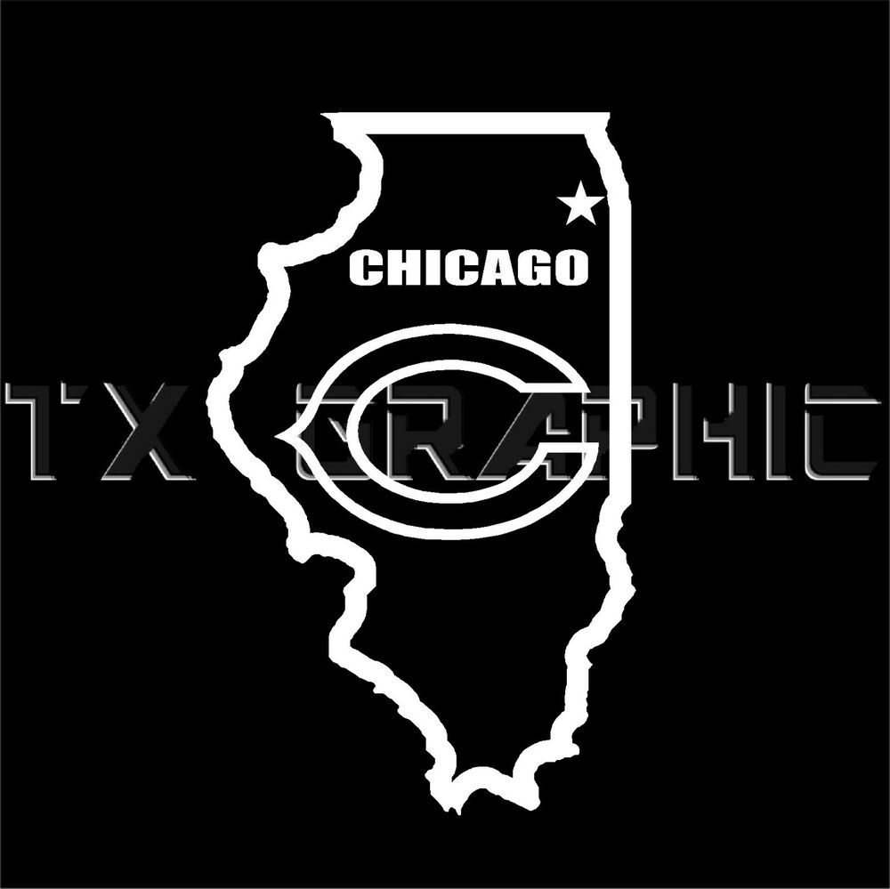 Chicago Bears Decal Illinois State Map Vinyl Sticker