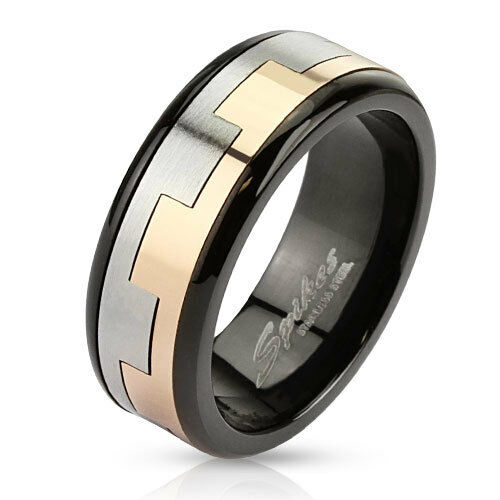 mens stainless steel black silver gold square link