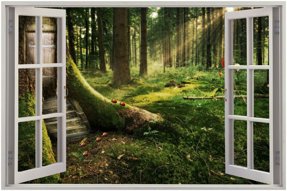 Huge 3d window view enchanted forest wall sticker mural for Enchanted forest mural wallpaper