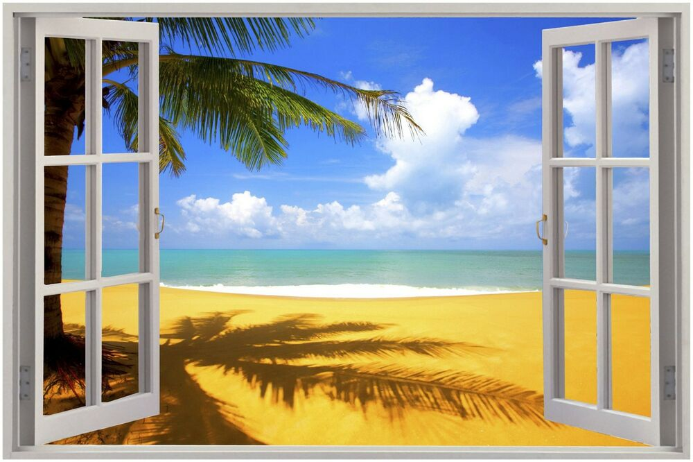 Huge 3d window exotic beach view wall stickers film mural for Mural film