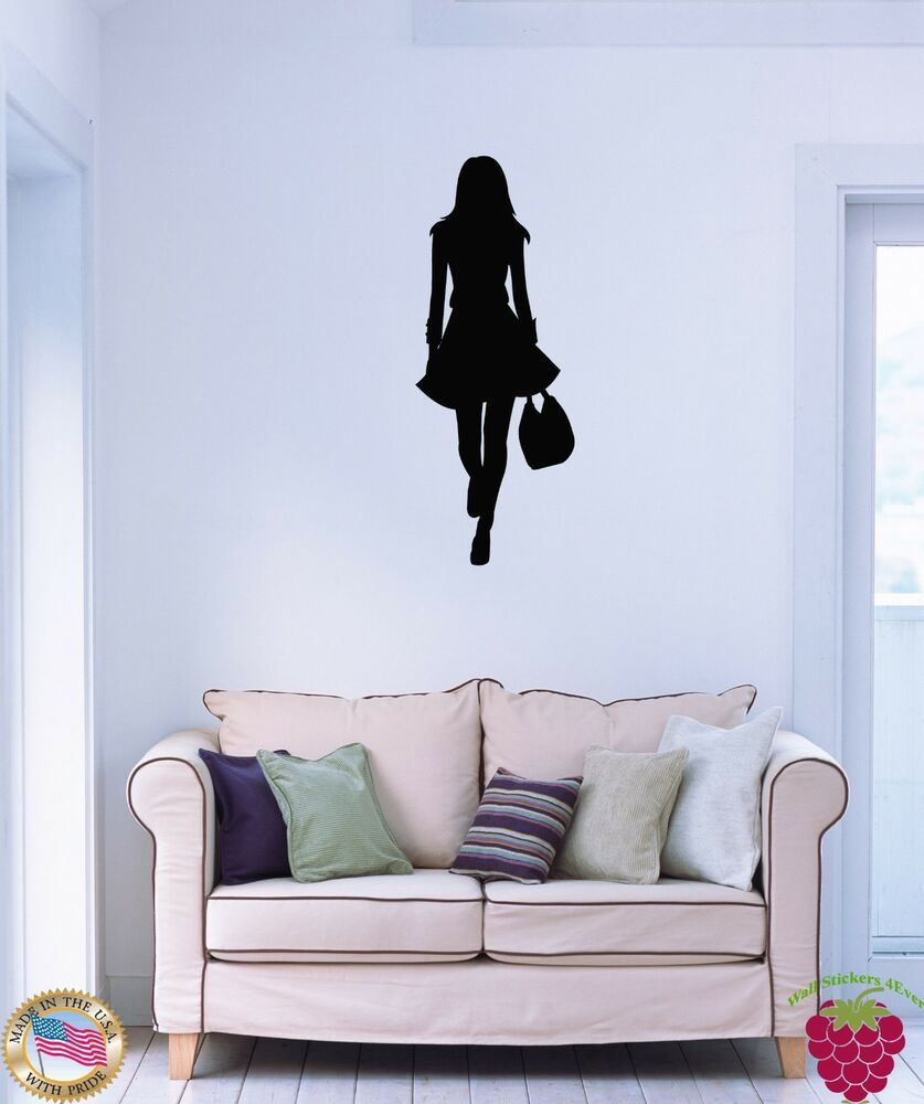 Wall vinyl stickers fashion girl with shopping bag cool decor for girls z1563 ebay - Wall decor stickers online shopping ...