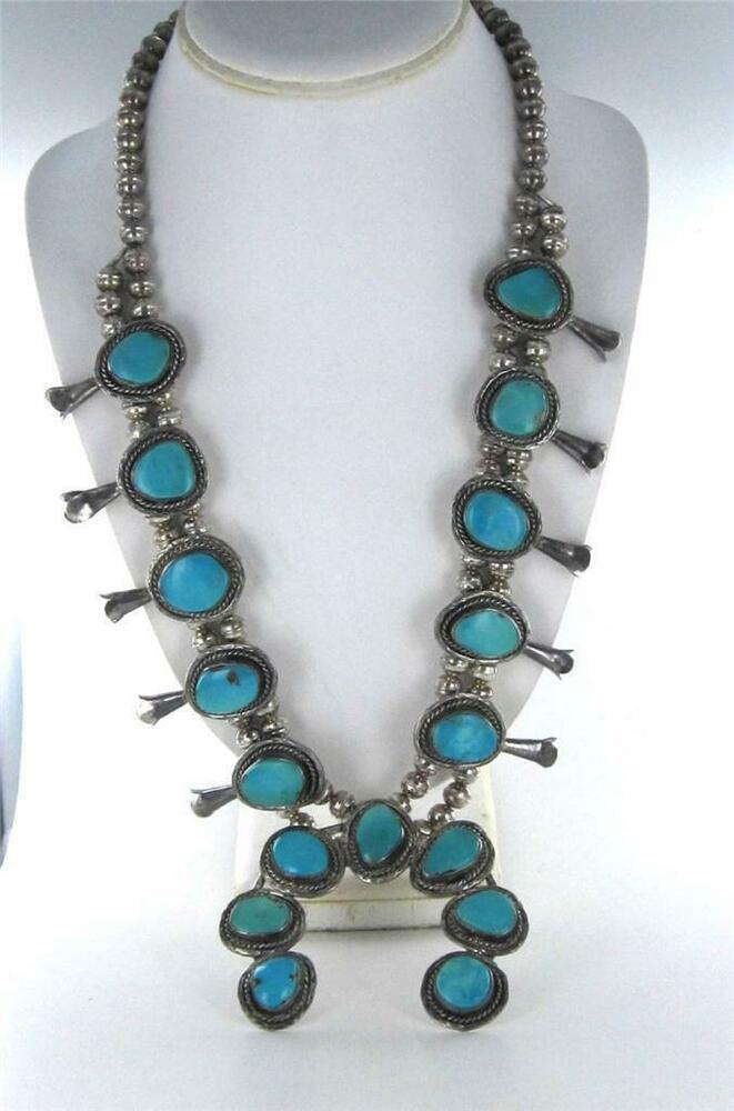 Native american turquoise necklace sterling silver blossom for Southwestern silver turquoise jewelry