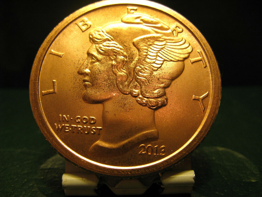 2013 Mercury Dime 1 Oz 999 Copper Round Ebay