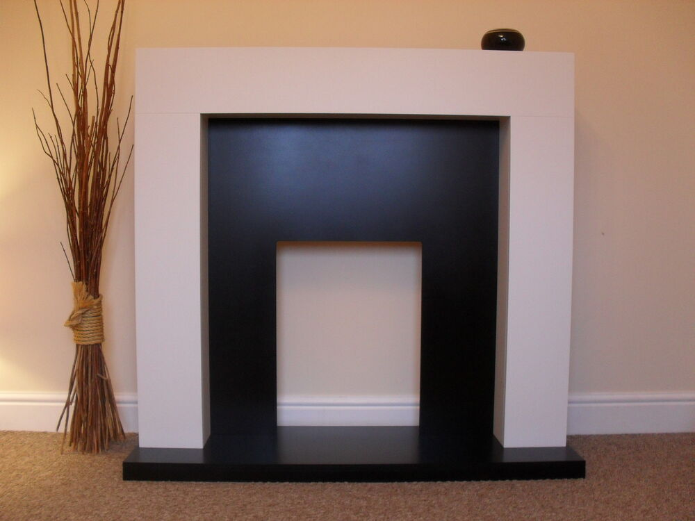 Electric white surround black wall modern fire fireplace for Large modern fireplaces