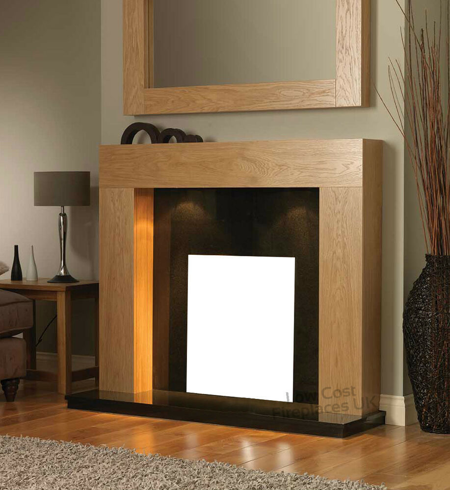 GAS ELECTRIC OAK BLACK GRANITE MARBLE SURROUND FIREPLACE