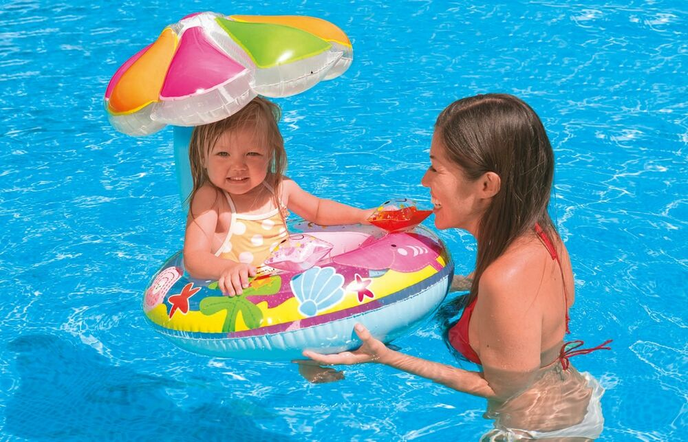 intex fish and friends baby float infant swimming pool raft with sunshade ebay