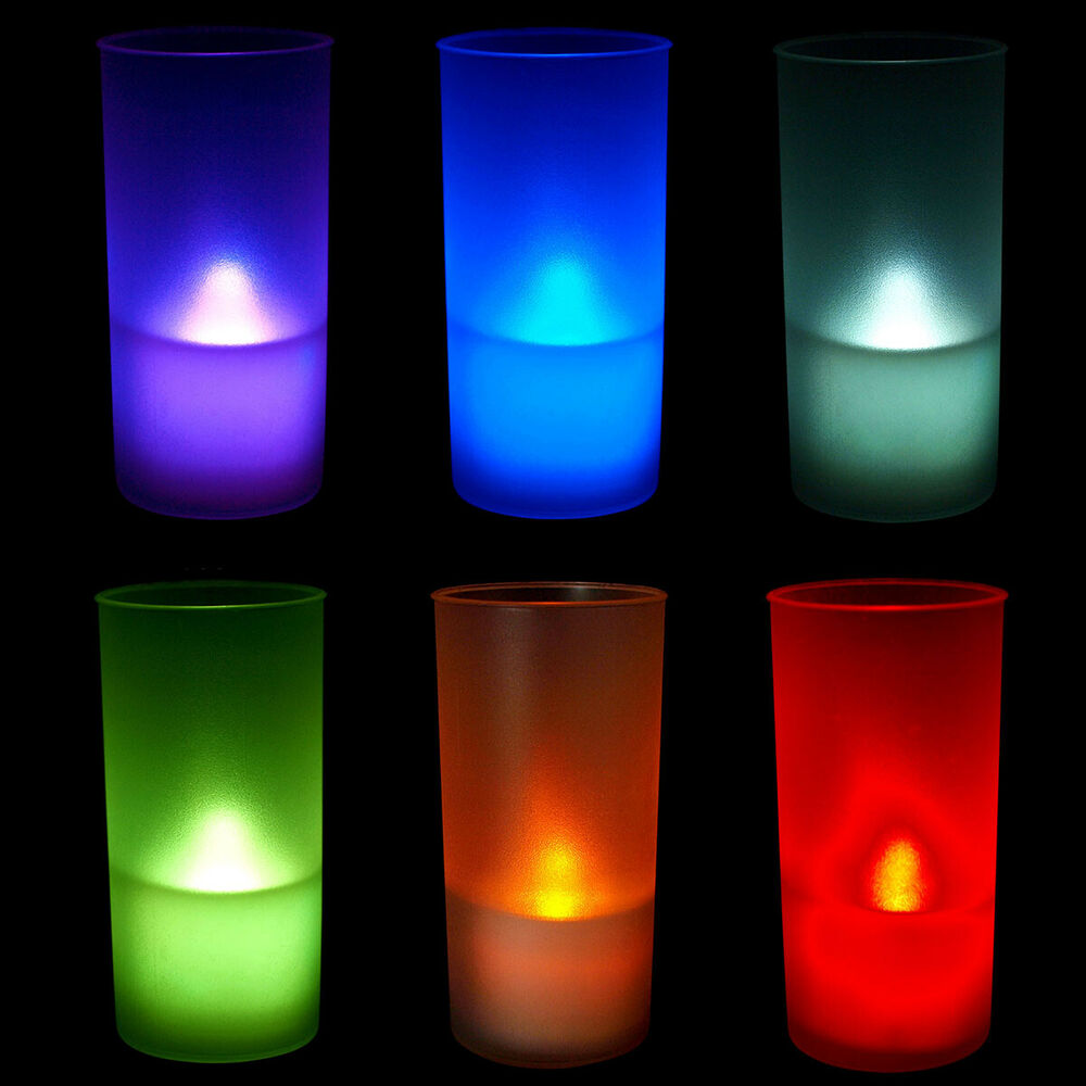 6 Pcs Blue Led Flickering Flameless Tealight Candles With Frosted Holders Ebay