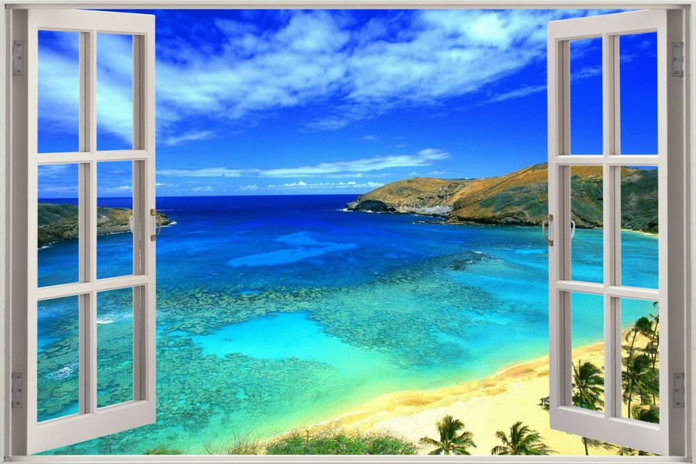 Huge 3d window view exotic hanama bay island wall sticker for Bay view wall mural