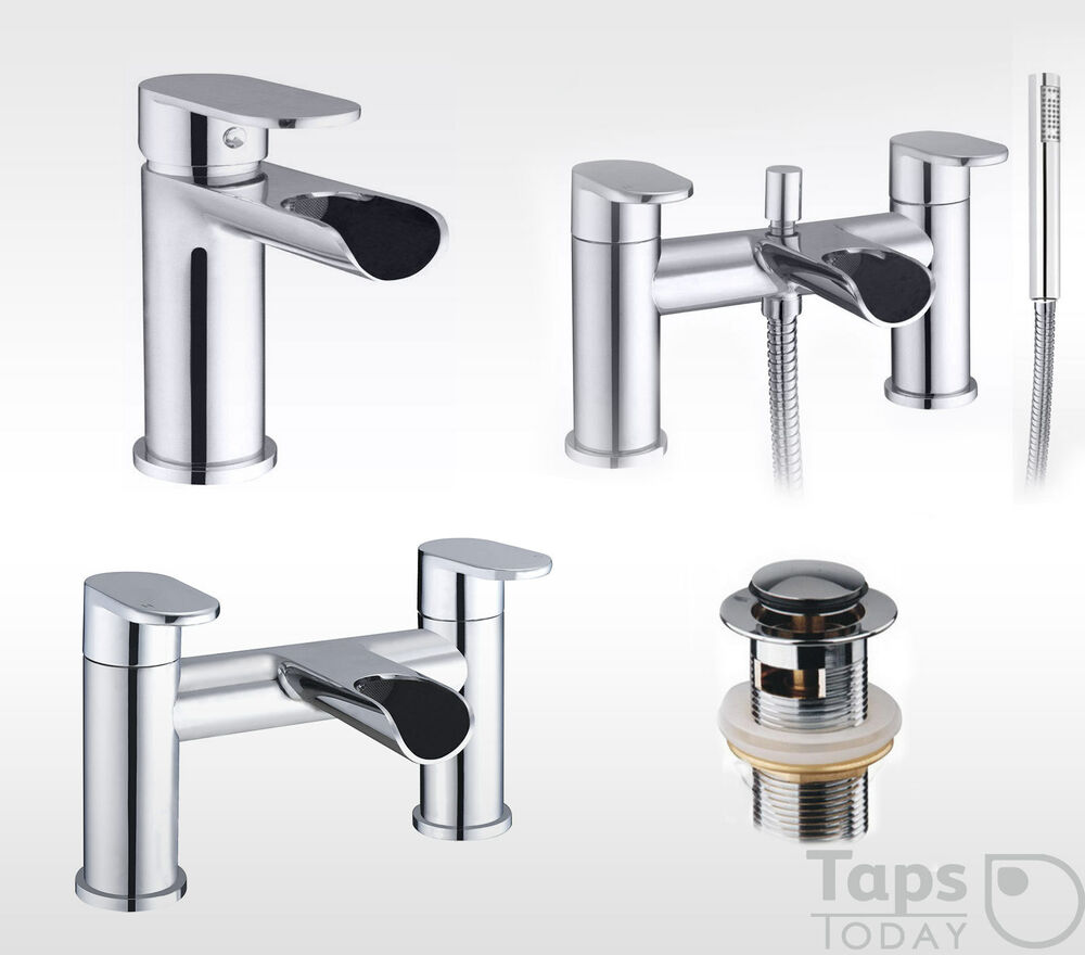 Round waterfall bathroom tap set basin mixer bath for Bathroom taps